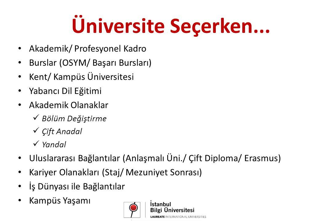 • Akademik/ Profesyonel Kadro • Burslar (OSYM/ Başarı Bursları) • Kent/ Kampüs Üniversitesi • Yabancı Dil Eğitimi • Akademik Olanaklar  Bölüm Değiştirme  Çift Anadal  Yandal • Uluslararası Bağlantılar (Anlaşmalı Üni./ Çift Diploma/ Erasmus) • Kariyer Olanakları (Staj/ Mezuniyet Sonrası) • İş Dünyası ile Bağlantılar • Kampüs Yaşamı Üniversite Seçerken...