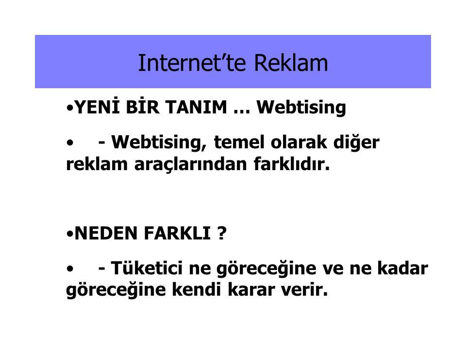 Internet'te Reklam •YENİ BİR TANIM … Webtising •- Webtising, temel olarak diğer reklam araçlarından farklıdır. •NEDEN FARKLI ? •- Tüketici ne göreceği