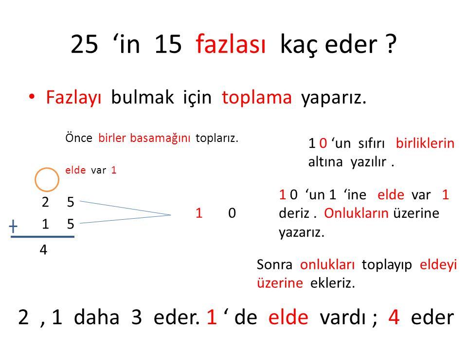 25 'in 15 fazlası kaç eder ? • Fazlayı bulmak için toplama yaparız. 2 5 1 5 Önce birler basamağını toplarız. 10 1 0 'un sıfırı birliklerin altına yazı