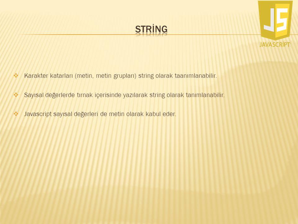  Karakter katarları (metin, metin grupları) string olarak taanımlanabilir.  Sayısal değerlerde tırnak içerisinde yazılarak string olarak tanımlanabi