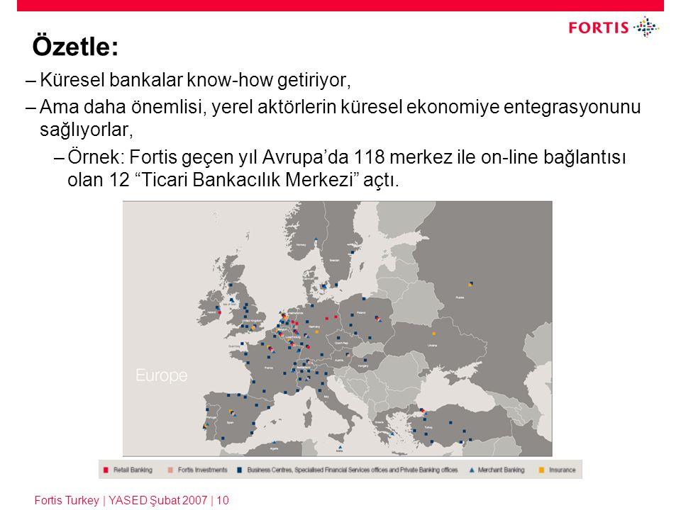 Fortis Turkey | YASED Şubat 2007 | 10 Özetle: –Küresel bankalar know-how getiriyor, –Ama daha önemlisi, yerel aktörlerin küresel ekonomiye entegrasyon