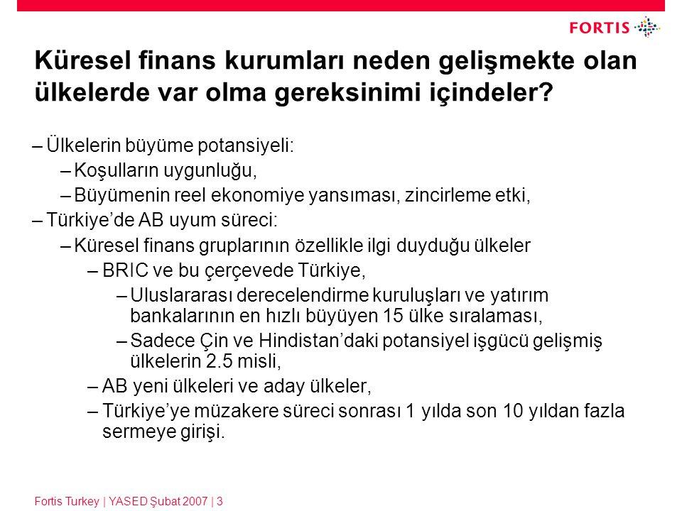 Fortis Turkey | YASED Şubat 2007 | 3 Küresel finans kurumları neden gelişmekte olan ülkelerde var olma gereksinimi içindeler? –Ülkelerin büyüme potans