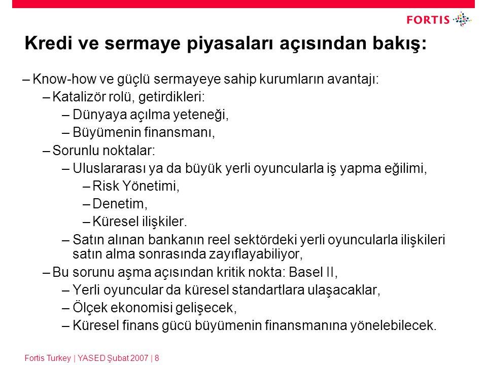 Fortis Turkey | YASED Şubat 2007 | 8 Kredi ve sermaye piyasaları açısından bakış: –Know-how ve güçlü sermayeye sahip kurumların avantajı: –Katalizör r