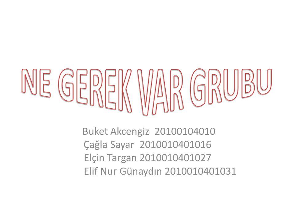 Buket Akcengiz 20100104010 Çağla Sayar 2010010401016 Elçin Targan 2010010401027 Elif Nur Günaydın 2010010401031