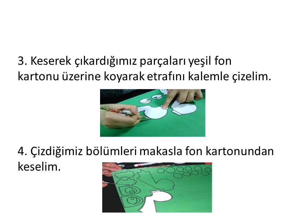 3. Keserek çıkardığımız parçaları yeşil fon kartonu üzerine koyarak etrafını kalemle çizelim. 4. Çizdiğimiz bölümleri makasla fon kartonundan keselim.