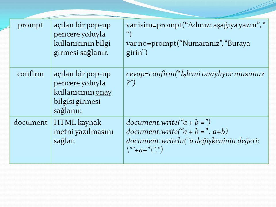 """promptaçılan bir pop-up pencere yoluyla kullanıcının bilgi girmesi sağlanır. var isim=prompt(""""Adınızı aşağıya yazın"""", """" """") var no=prompt(""""Numaranız"""","""