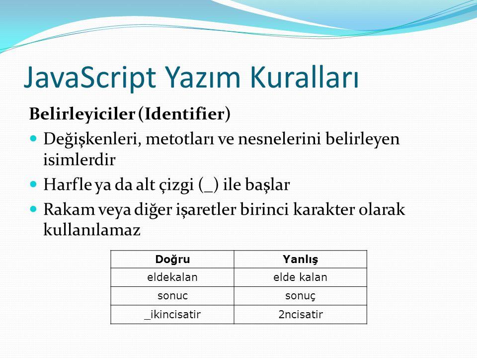 JavaScript Yazım Kuralları Belirleyiciler (Identifier)  Değişkenleri, metotları ve nesnelerini belirleyen isimlerdir  Harfle ya da alt çizgi (_) ile