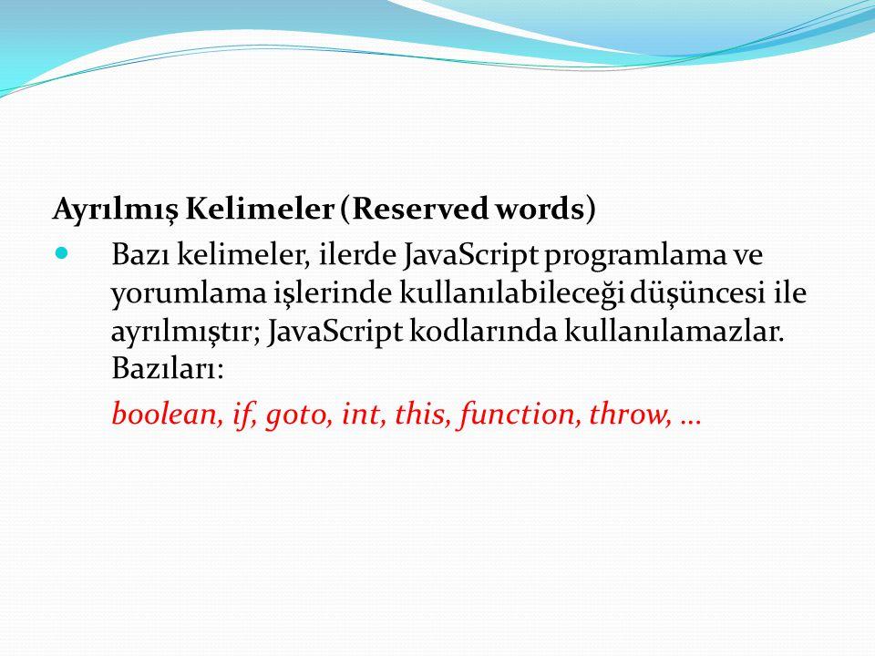 Ayrılmış Kelimeler (Reserved words)  Bazı kelimeler, ilerde JavaScript programlama ve yorumlama işlerinde kullanılabileceği düşüncesi ile ayrılmıştır