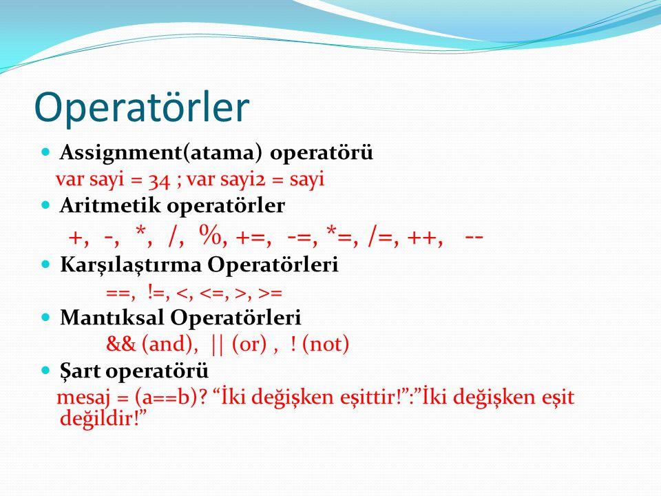 Operatörler  Assignment(atama) operatörü var sayi = 34 ; var sayi2 = sayi  Aritmetik operatörler +, -, *, /, %, +=, -=, *=, /=, ++, --  Karşılaştır