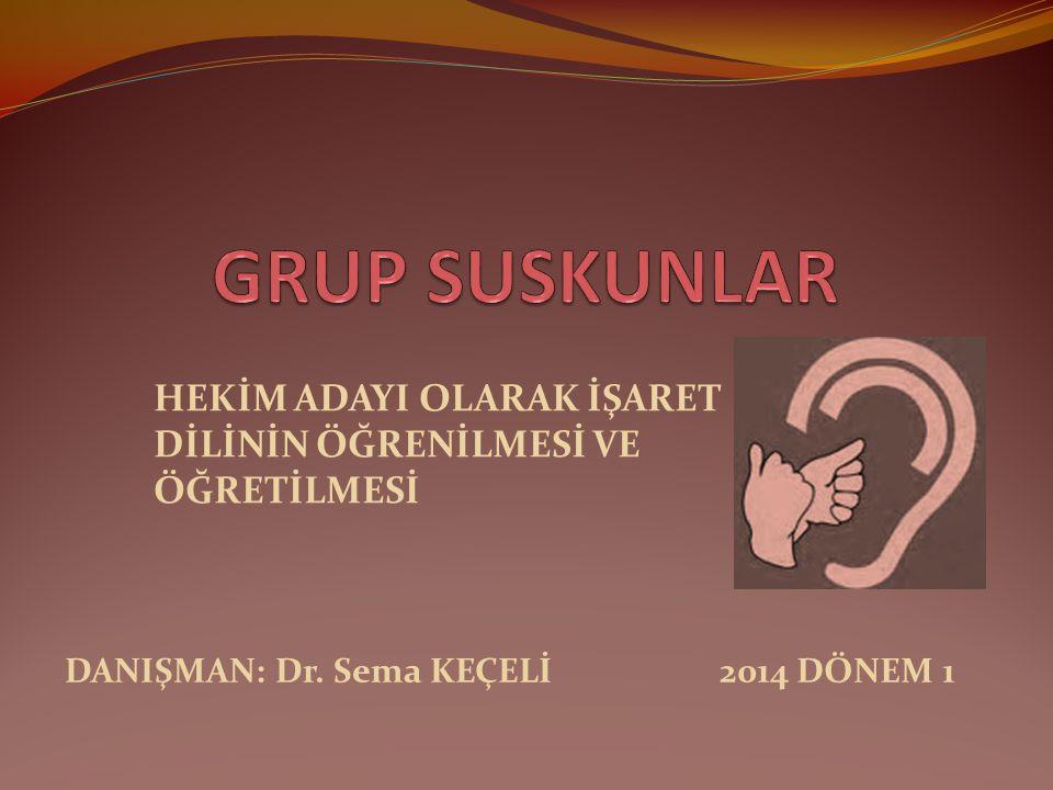 HEKİM ADAYI OLARAK İŞARET DİLİNİN ÖĞRENİLMESİ VE ÖĞRETİLMESİ 2014 DÖNEM 1DANIŞMAN: Dr. Sema KEÇELİ