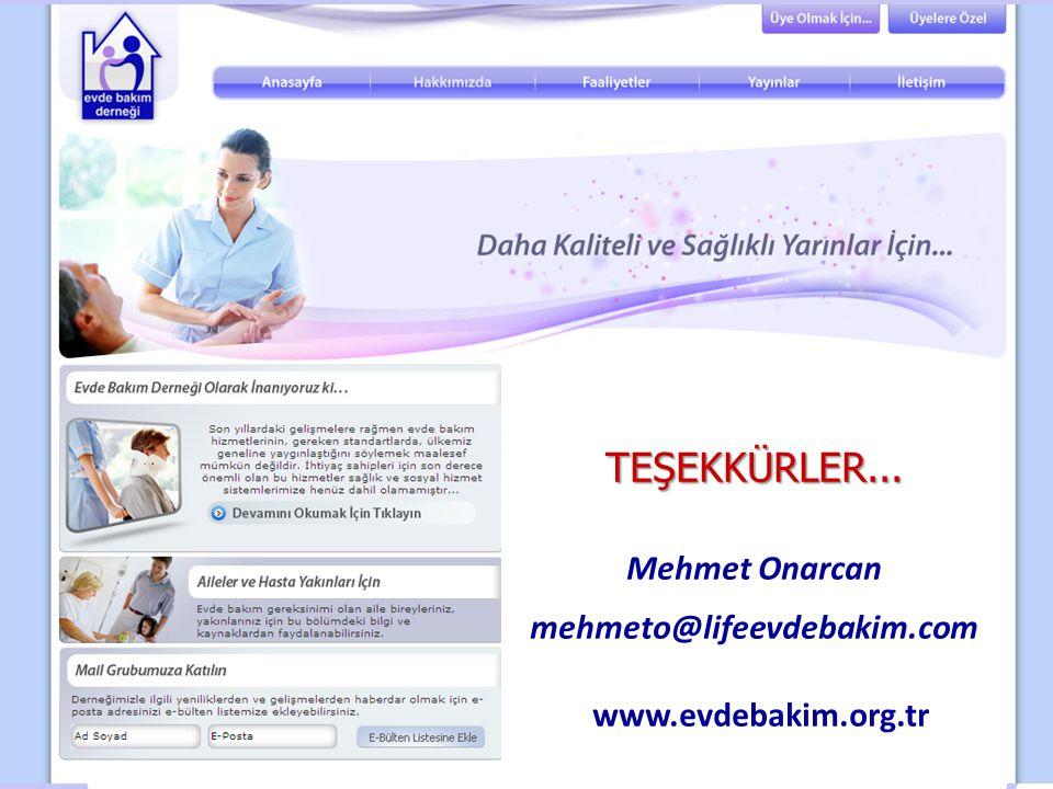 TEŞEKKÜRLER... Mehmet Onarcan mehmeto@lifeevdebakim.com www.evdebakim.org.tr