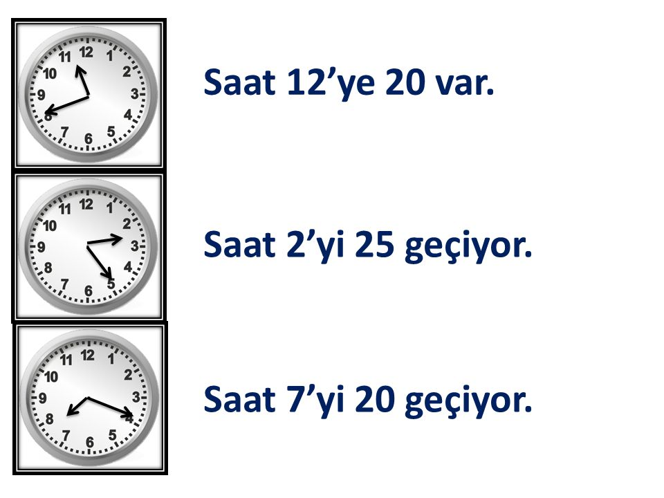 Saat 7'yi 20 geçiyor. Saat 2'yi 25 geçiyor. Saat 12'ye 20 var.