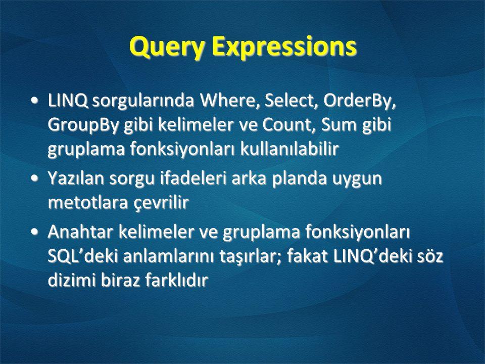Query Expressions •LINQ sorgularında Where, Select, OrderBy, GroupBy gibi kelimeler ve Count, Sum gibi gruplama fonksiyonları kullanılabilir •Yazılan sorgu ifadeleri arka planda uygun metotlara çevrilir •Anahtar kelimeler ve gruplama fonksiyonları SQL'deki anlamlarını taşırlar; fakat LINQ'deki söz dizimi biraz farklıdır