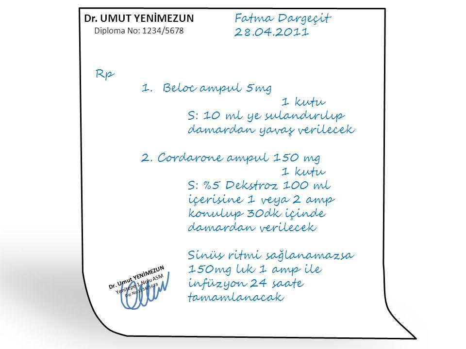 Fatma Dargeçit 28.04.2011 Rp 1. Beloc ampul 5mg 1 kutu S: 10 ml ye sulandırılıp damardan yavaş verilecek 2. Cordarone ampul 150 mg 1 kutu S: %5 Dekstr