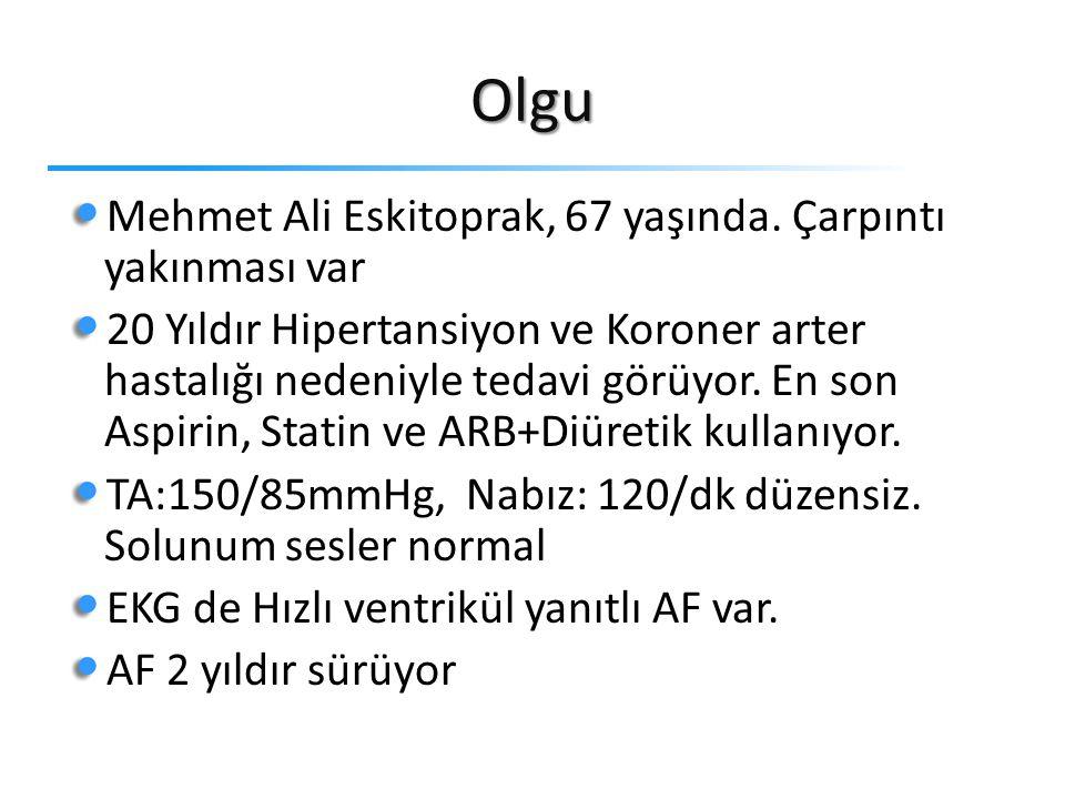 Olgu Mehmet Ali Eskitoprak, 67 yaşında. Çarpıntı yakınması var 20 Yıldır Hipertansiyon ve Koroner arter hastalığı nedeniyle tedavi görüyor. En son Asp