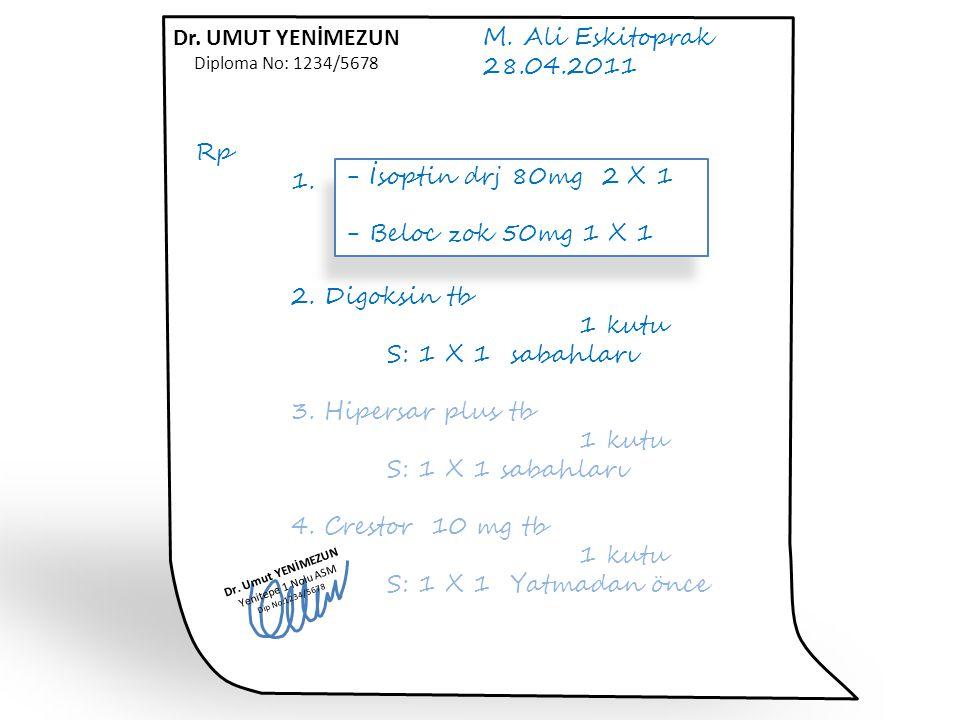 M. Ali Eskitoprak 28.04.2011 Rp 1. Diltizem tb 30 mg 1 kutu S: 3 X 1 2. Digoksin tb 1 kutu S: 1 X 1 sabahları 3. Hipersar plus tb 1 kutu S: 1 X 1 saba