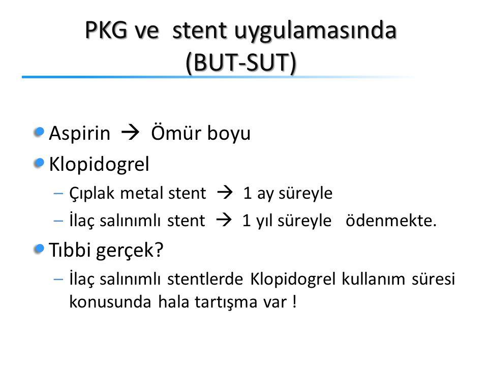 PKG ve stent uygulamasında (BUT-SUT) Aspirin  Ömür boyu Klopidogrel –Çıplak metal stent  1 ay süreyle –İlaç salınımlı stent  1 yıl süreyle ödenmekt