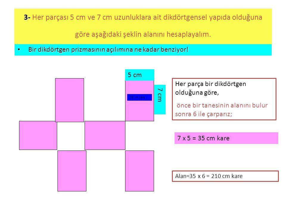 3- 3- Her parçası 5 cm ve 7 cm uzunluklara ait dikdörtgensel yapıda olduğuna göre aşağıdaki şeklin alanını hesaplayalım. • Bir dikdörtgen prizmasının