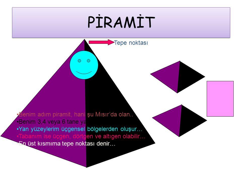 PİRAMİT •Benim adım piramit, hani şu Mısır'da olan.. •Benim 3,4 veya 6 tane yan yüzeyim olabilir… •Yan yüzeylerim üçgensel bölgelerden oluşur… •Tabanı