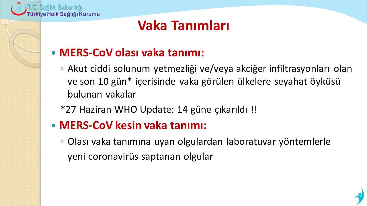 Türkiye Halk Sağlığı Kurumu T.C. Sa ğ lık Bakanlı ğ ı Vaka Tanımları  MERS-CoV olası vaka tanımı: ◦ Akut ciddi solunum yetmezliği ve/veya akciğer inf