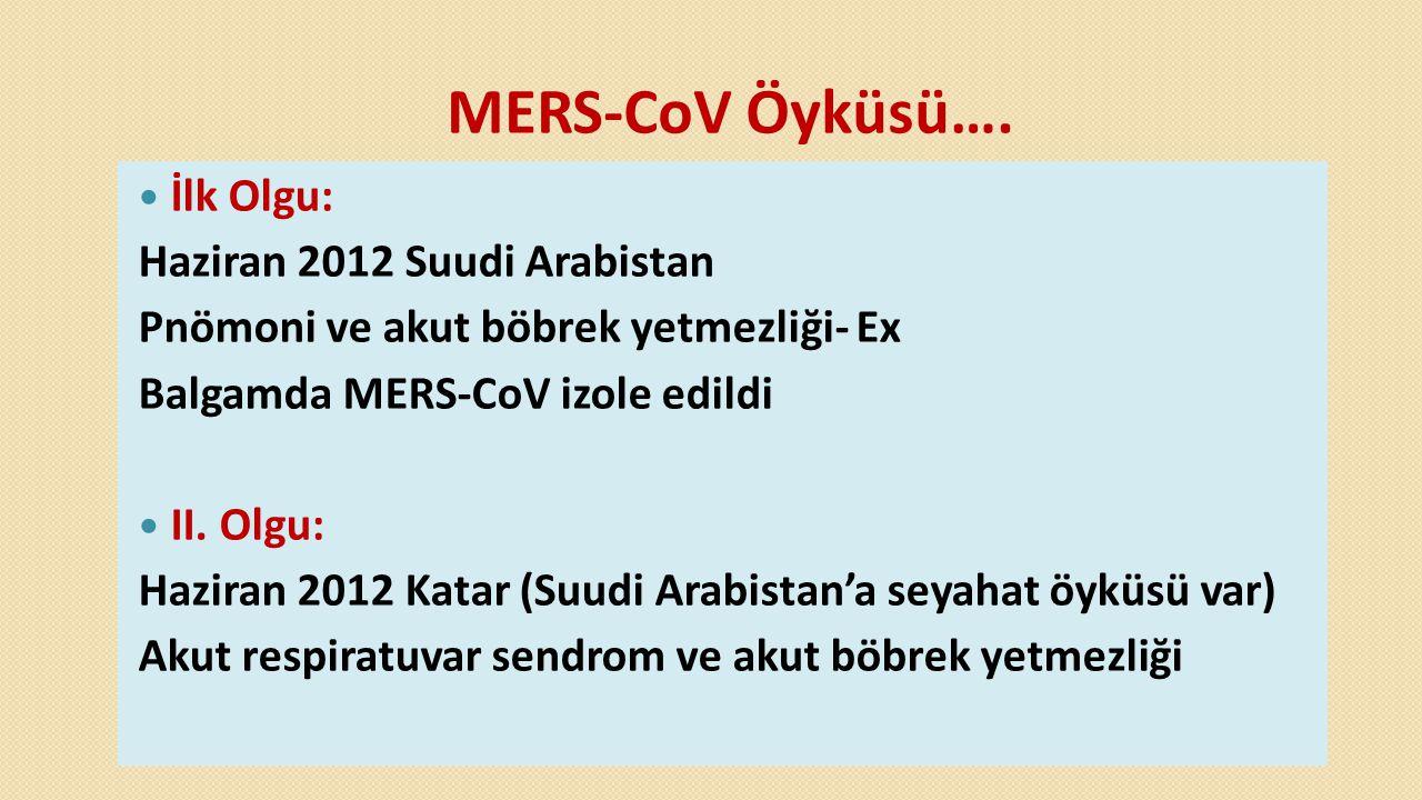 MERS-CoV Öyküsü….  İlk Olgu: Haziran 2012 Suudi Arabistan Pnömoni ve akut böbrek yetmezliği- Ex Balgamda MERS-CoV izole edildi  II. Olgu: Haziran 20