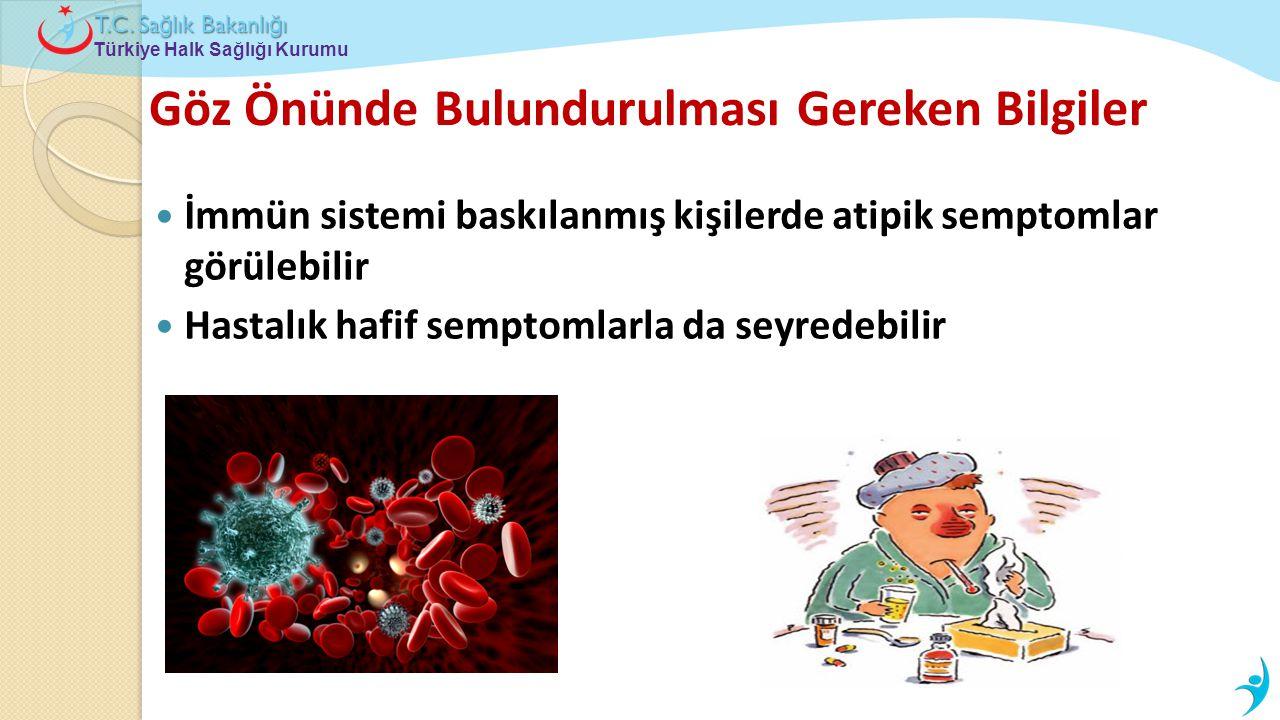 Türkiye Halk Sağlığı Kurumu T.C. Sa ğ lık Bakanlı ğ ı Göz Önünde Bulundurulması Gereken Bilgiler  İmmün sistemi baskılanmış kişilerde atipik semptoml