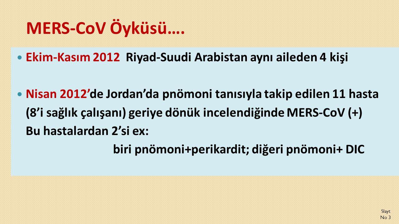 MERS-CoV Öyküsü….  Ekim-Kasım 2012 Riyad-Suudi Arabistan aynı aileden 4 kişi  Nisan 2012'de Jordan'da pnömoni tanısıyla takip edilen 11 hasta (8'i s