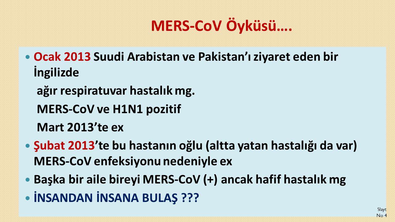 MERS-CoV Öyküsü….  Ocak 2013 Suudi Arabistan ve Pakistan'ı ziyaret eden bir İngilizde ağır respiratuvar hastalık mg. MERS-CoV ve H1N1 pozitif Mart 20