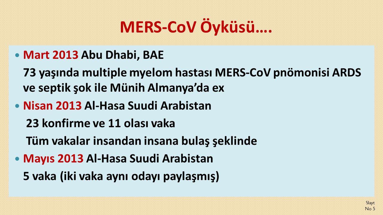 MERS-CoV Öyküsü….  Mart 2013 Abu Dhabi, BAE 73 yaşında multiple myelom hastası MERS-CoV pnömonisi ARDS ve septik şok ile Münih Almanya'da ex  Nisan