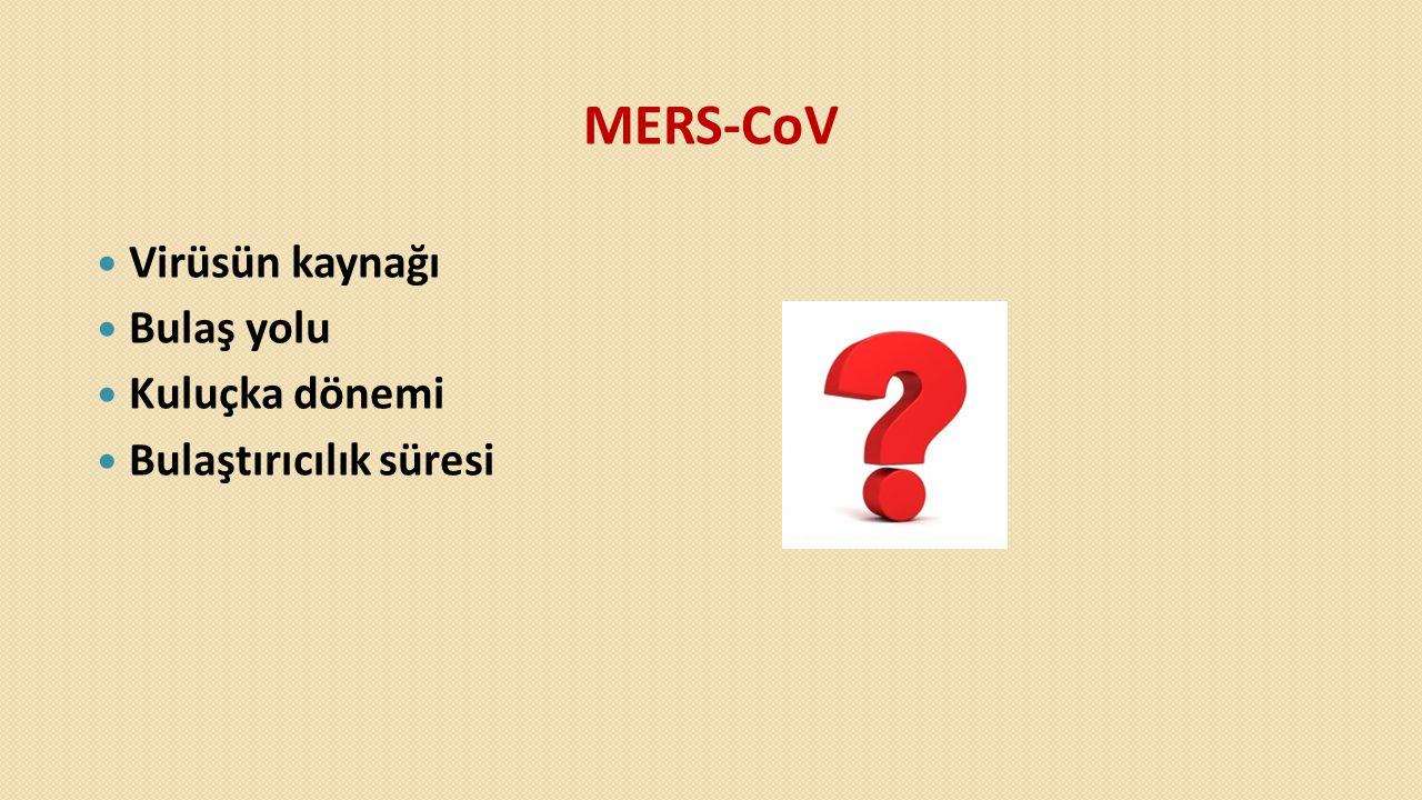 MERS-CoV  Virüsün kaynağı  Bulaş yolu  Kuluçka dönemi  Bulaştırıcılık süresi