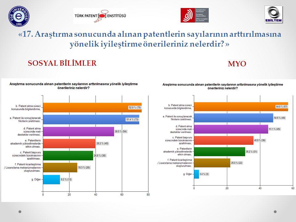 «17. Araştırma sonucunda alınan patentlerin sayılarının arttırılmasına yönelik iyileştirme önerileriniz nelerdir? » SOSYAL BİLİMLER MYO