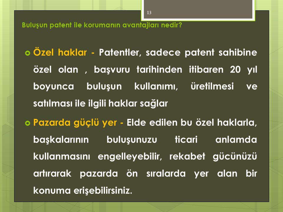Buluşun patent ile korumanın avantajları nedir?  Özel haklar - Patentler, sadece patent sahibine özel olan, başvuru tarihinden itibaren 20 yıl boyunc
