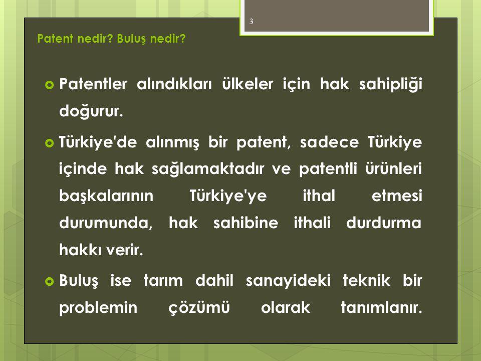 Patent nedir? Buluş nedir?  Patentler alındıkları ülkeler için hak sahipliği doğurur.  Türkiye'de alınmış bir patent, sadece Türkiye içinde hak sağl