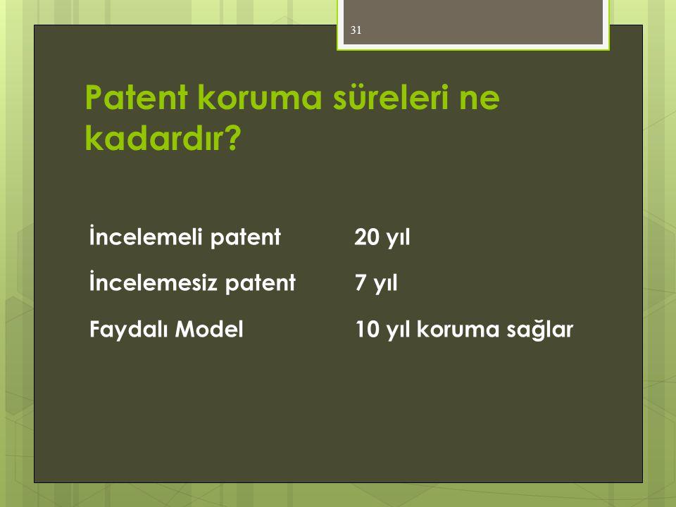 Patent koruma süreleri ne kadardır? İncelemeli patent 20 yıl İncelemesiz patent 7 yıl Faydalı Model 10 yıl koruma sağlar 31
