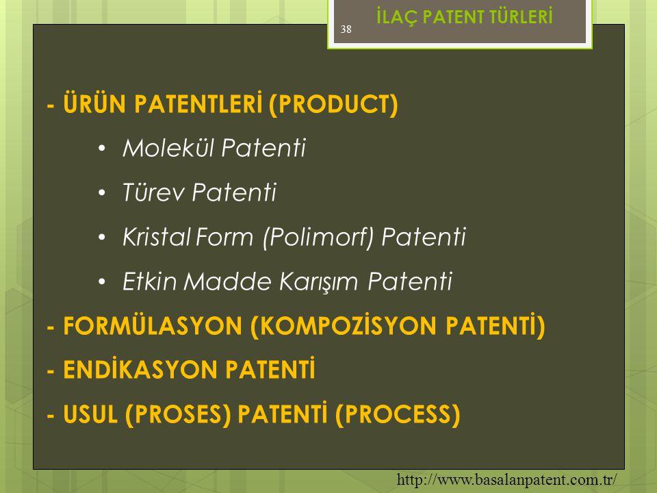 38 - ÜRÜN PATENTLERİ (PRODUCT) • Molekül Patenti • Türev Patenti • Kristal Form (Polimorf) Patenti • Etkin Madde Karışım Patenti - FORMÜLASYON (KOMPOZ