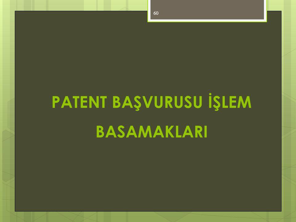 60 PATENT BAŞVURUSU İŞLEM BASAMAKLARI