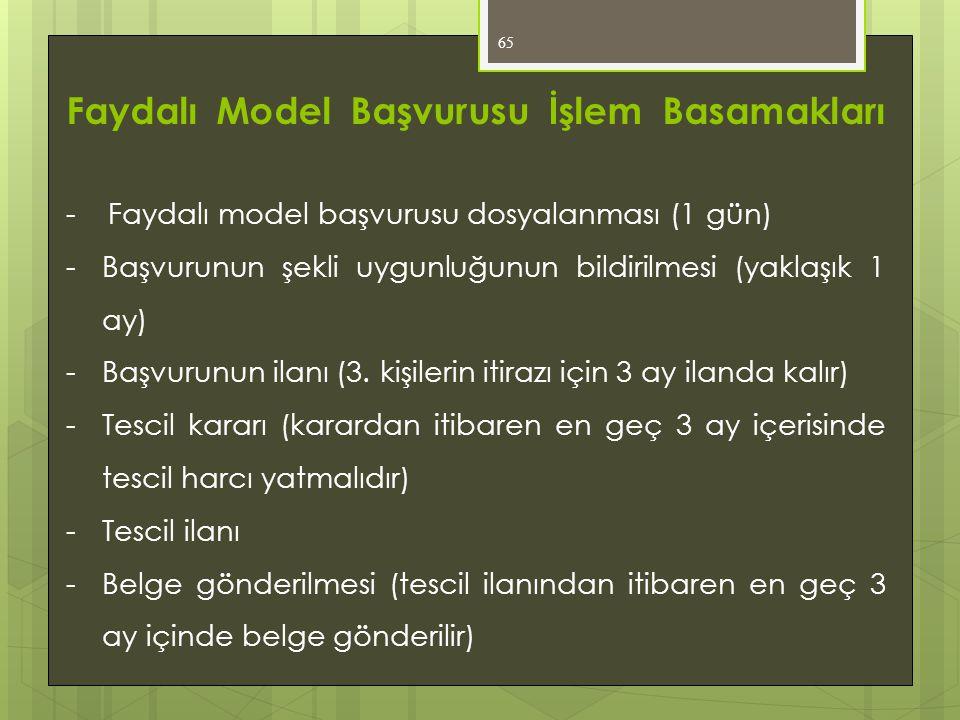 65 Faydalı Model Başvurusu İşlem Basamakları - Faydalı model başvurusu dosyalanması (1 gün) -Başvurunun şekli uygunluğunun bildirilmesi (yaklaşık 1 ay