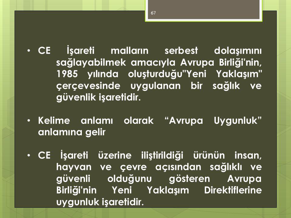 67 • CE İşareti malların serbest dolaşımını sağlayabilmek amacıyla Avrupa Birliği'nin, 1985 yılında oluşturduğu