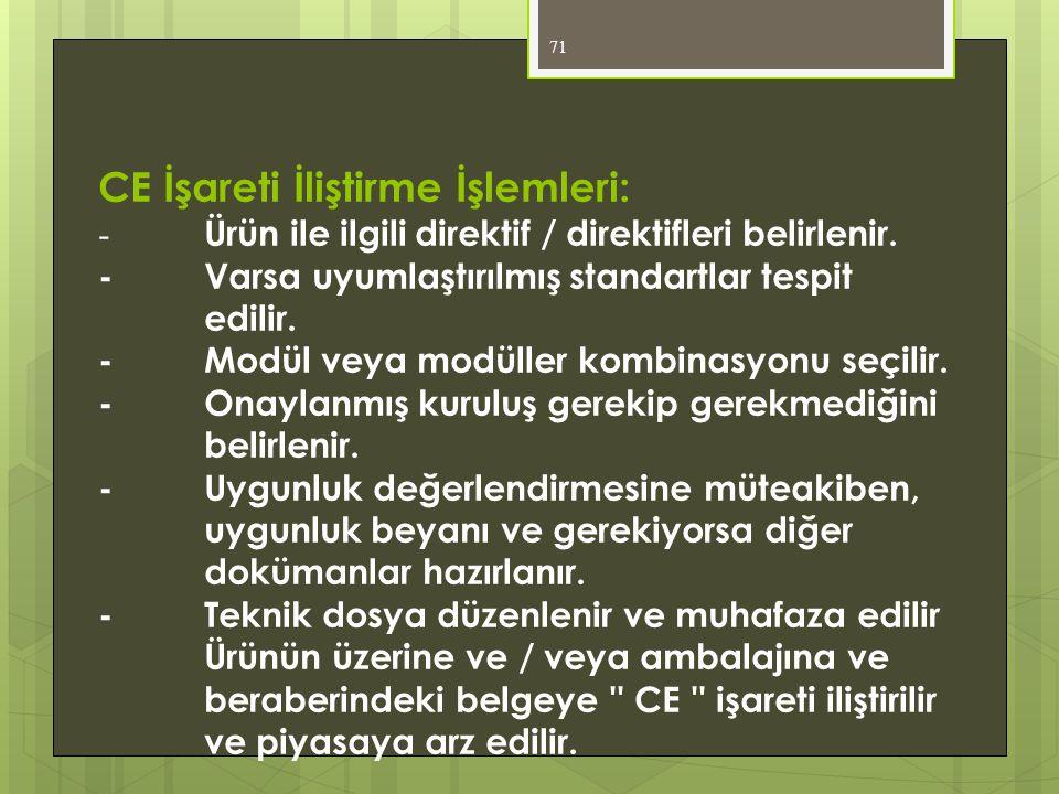 71 CE İşareti İliştirme İşlemleri: - Ürün ile ilgili direktif / direktifleri belirlenir. -Varsa uyumlaştırılmış standartlar tespit edilir. -Modül veya