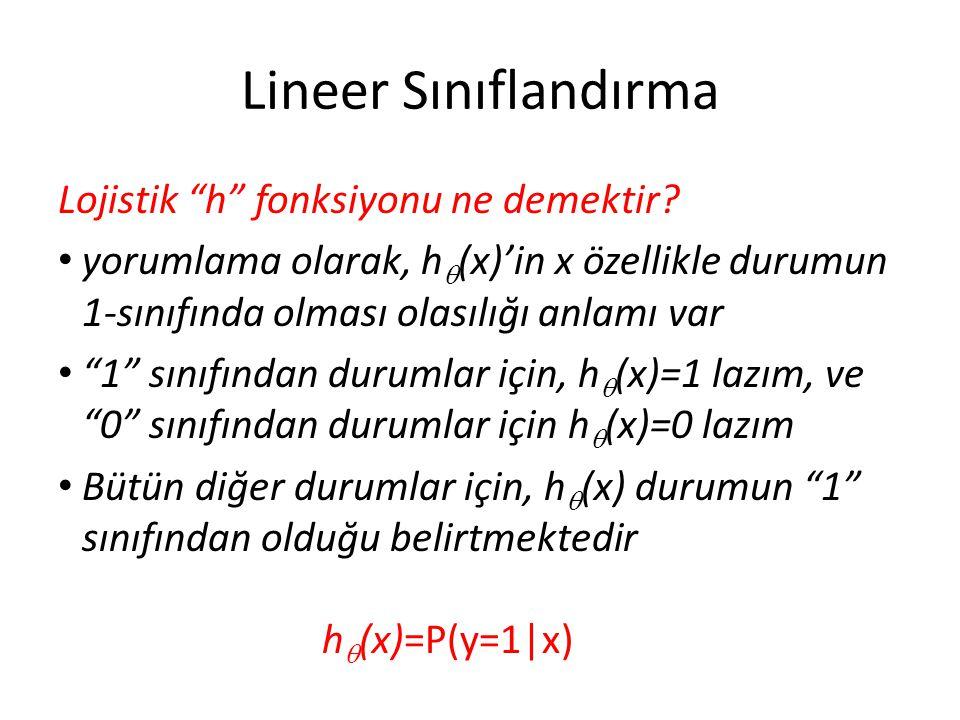 """Lineer Sınıflandırma Lojistik """"h"""" fonksiyonu ne demektir? • yorumlama olarak, h  (x)'in x özellikle durumun 1-sınıfında olması olasılığı anlamı var •"""