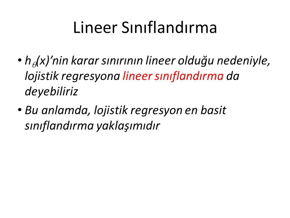 Lineer Sınıflandırma • h  (x)'nin karar sınırının lineer olduğu nedeniyle, lojistik regresyona lineer sınıflandırma da deyebiliriz • Bu anlamda, loji