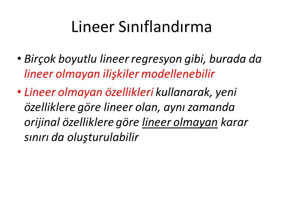 Lineer Sınıflandırma • Birçok boyutlu lineer regresyon gibi, burada da lineer olmayan ilişkiler modellenebilir • Lineer olmayan özellikleri kullanarak