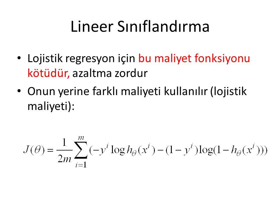 Lineer Sınıflandırma • Lojistik regresyon için bu maliyet fonksiyonu kötüdür, azaltma zordur • Onun yerine farklı maliyeti kullanılır (lojistik maliye