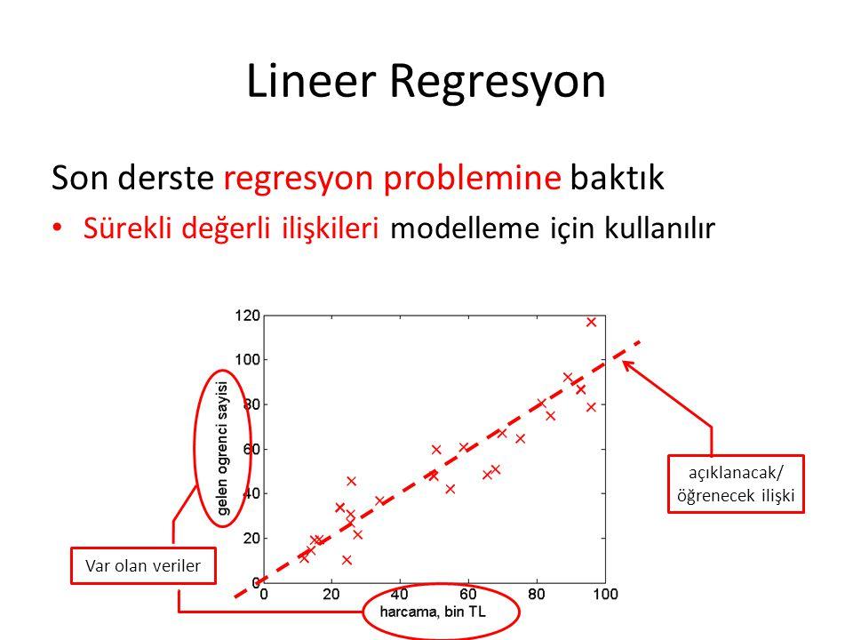 Lineer Regresyon Son derste regresyon problemine baktık • Sürekli değerli ilişkileri modelleme için kullanılır Var olan veriler açıklanacak/ öğrenecek