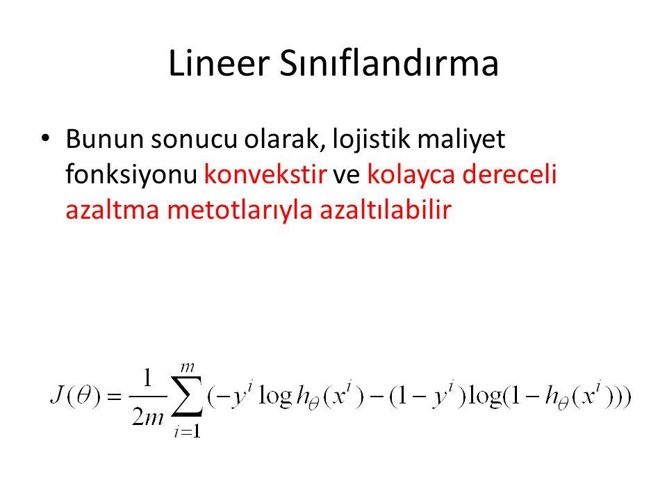Lineer Sınıflandırma • Bunun sonucu olarak, lojistik maliyet fonksiyonu konvekstir ve kolayca dereceli azaltma metotlarıyla azaltılabilir