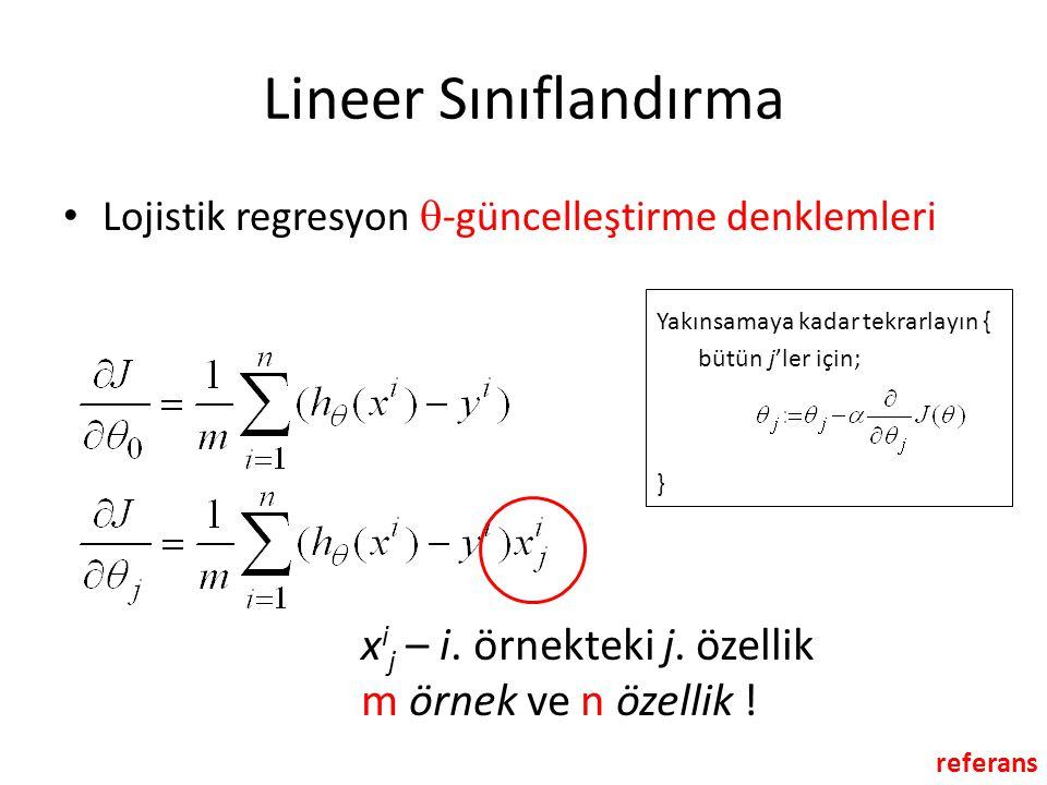 Lineer Sınıflandırma • Lojistik regresyon  -güncelleştirme denklemleri Yakınsamaya kadar tekrarlayın { bütün j'ler için; } referans x i j – i. örnekt