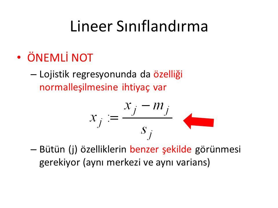 Lineer Sınıflandırma • ÖNEMLİ NOT – Lojistik regresyonunda da özelliği normalleşilmesine ihtiyaç var – Bütün (j) özelliklerin benzer şekilde görünmesi