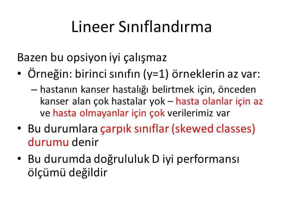 Lineer Sınıflandırma Bazen bu opsiyon iyi çalışmaz • Örneğin: birinci sınıfın (y=1) örneklerin az var: – hastanın kanser hastalığı belirtmek için, önc