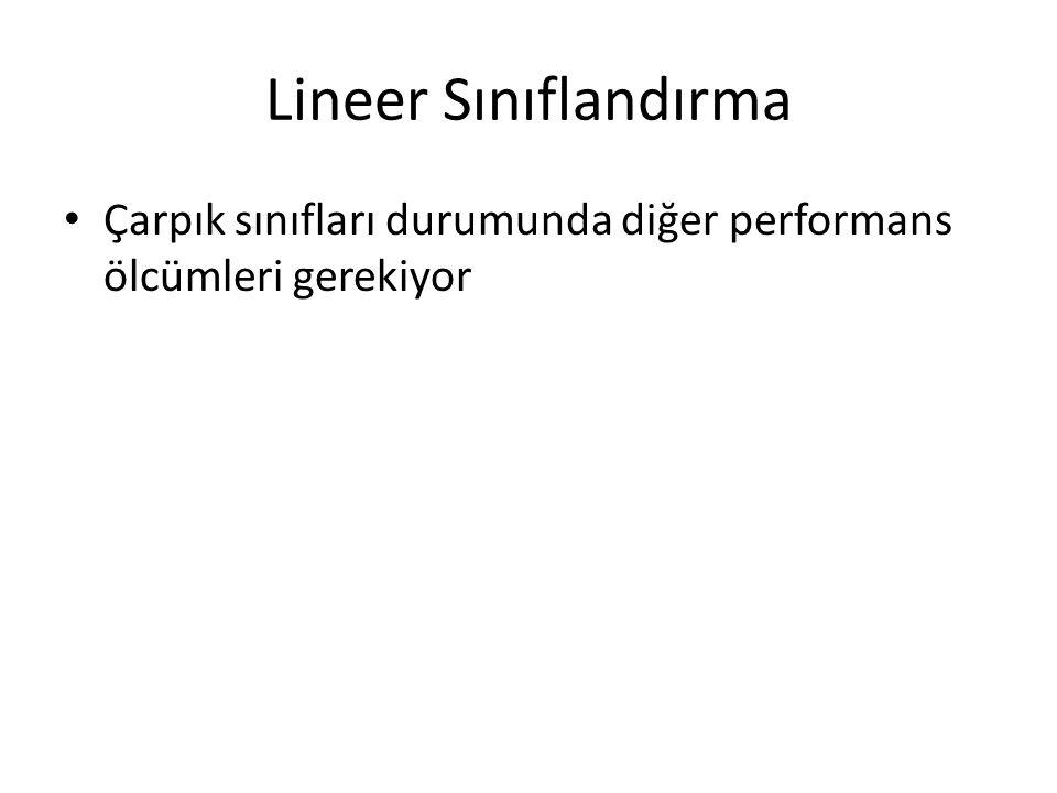 Lineer Sınıflandırma • Çarpık sınıfları durumunda diğer performans ölcümleri gerekiyor