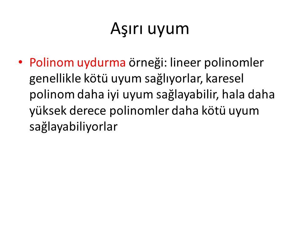 Aşırı uyum • Polinom uydurma örneği: lineer polinomler genellikle kötü uyum sağlıyorlar, karesel polinom daha iyi uyum sağlayabilir, hala daha yüksek